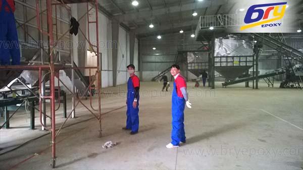 Sơn epoxy tự san phẳng (tự trải phẳng) tại nhà xưởng sản xuất chè – Sóc Sơn