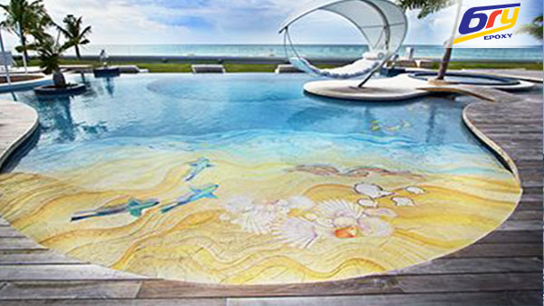 Sơn sàn epoxy 3D bể bơi tạo cảm giác hòa mình vào thiên nhiên, tạo trí tưởng tượng